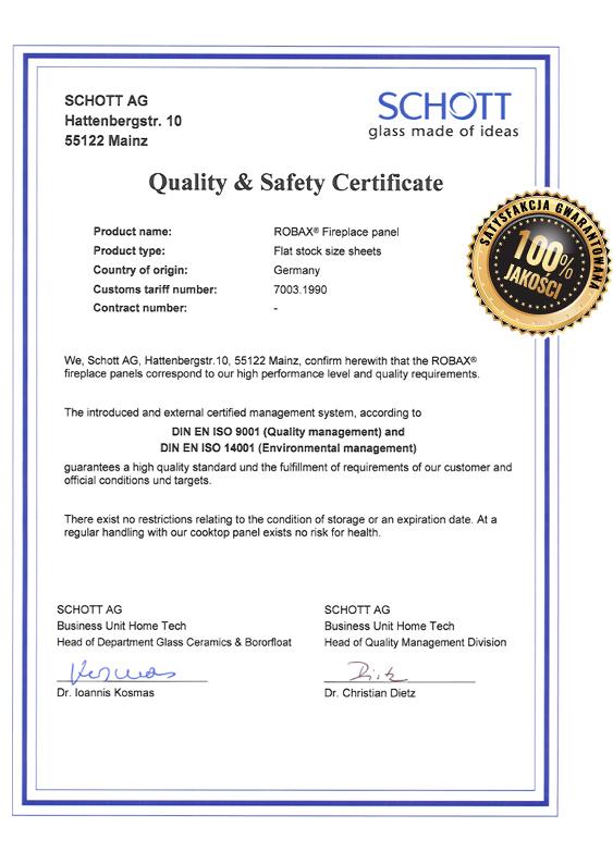 szyba dokominka certyfikat